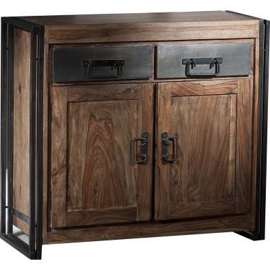 Buffet design industriel en bois de sheesham et métal coloris brun et noir L. 100 x P. 40 x H. 90 cm collection Henrietta