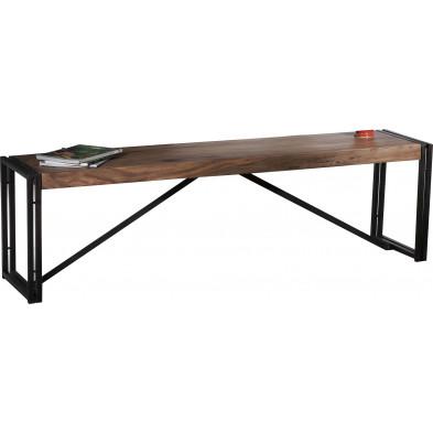 Banc design industriel en bois de sheesham et métal coloris marron et noir  L. 160 x P. 38 x H. 45 cm collection Henrietta