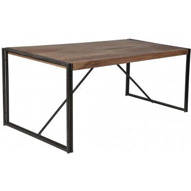 Table de salle à manger design industriel en bois de sheesham et métal coloris brun et noir L. 180 x P. 90 x H. 76 cm collection Henrietta