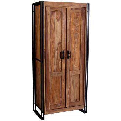Armoire 2 portes design industriel avec 3 étagères piètement en acier et structure en bois massif sheesham L. 80 x P. 45 x H. 180 cm collection Henrietta