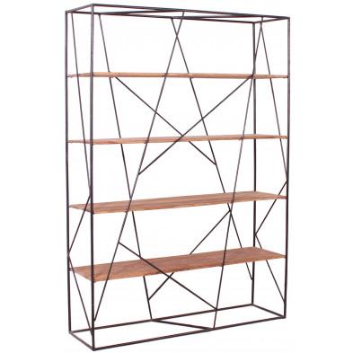 Bibliothèque design industriel coloris marron et noir structure en acier et bois massif sheesham avec 4 étagères L. 140 x P. 40 x H. 200 cm collection Henrietta
