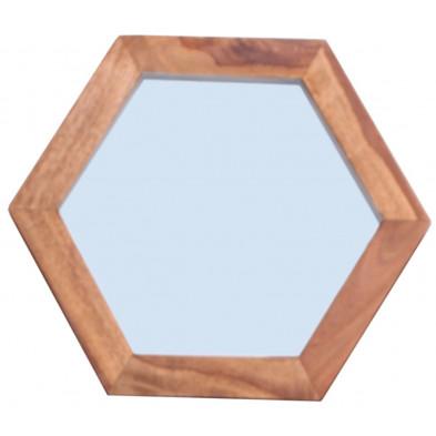 Miroir contemporain avec cadre en bois massif sheesham L. 35 x P. 35 x H. 4 cm collection Henrietta