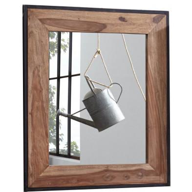 Miroir contemporain avec cadre en bois massif sheesham et acier noir L. 82 x P. 3 x H. 97 cm collection Henrietta