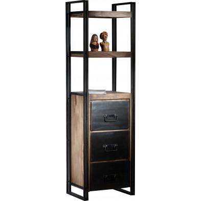 Bibliothèque coloris marron et noir industriel en acier et bois massif sheesham avec 3 tiroirs L. 60 x P. 40 x H. 200 cm collection Henrietta