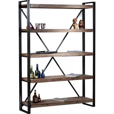 Bibliothèque coloris marron et noir industriel en acier et bois massif sheesham L. 140 x P. 40 x H. 200 cm collection Henrietta