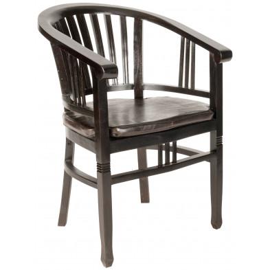 Chaise de salle à manger avec accoudoirs en bois d'acajou coloris marron L. 50 x P. 60 x H. 86 cm collection Asmaa