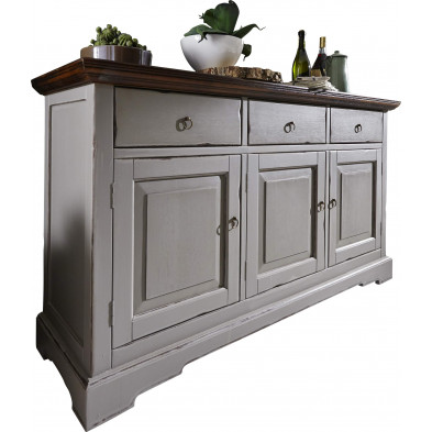 Buffet contemporain  en acacia massif 3 portes 3 tiroirs coloris blanc antique et taupe L. 148 x P. 44 x H. 83.5 cm collection Longdale