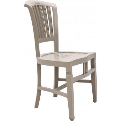 Chaise de salle à manger classique en bois d'acacia coloris blanc antique L. 50 x P. 55 x H. 95 cm collection Longdale
