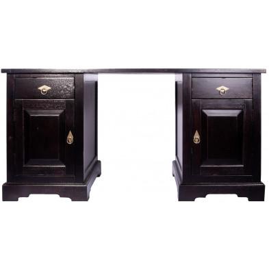 Bureau classique en acacia massif avec 2 portes et 2 tiroirs coloris marron antique L. 150 x P. 68 x H. 75 cm collection Asmaa