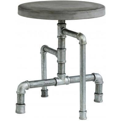 Tabouret design industriel ø 40 cm en bois et en métal coloris gris collection Hoegen