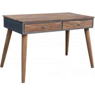 Bureau industriel avec 2 tiroirs en teck et en métal coloris marron et gris antique L. 120 x P. 60 x H. 80 cm collection Voorthuizen