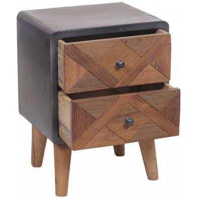 Table de chevet industrielle à 2 tiroirs en teck et en métal coloris brun et gris antique L. 44 x P. 34 x H. 60 cm collection Voorthuizen