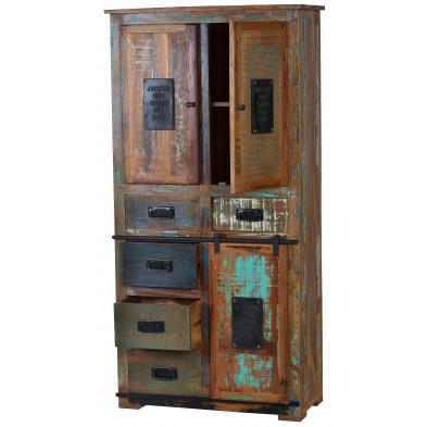Structure armoire rustique en bois recyclé multicolore et en métal avec 3 portes et 5 tiroirs L. 90 x P. 40 x H. 180 cm collection Ebersole