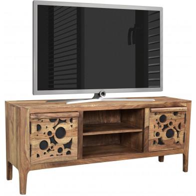 Meuble TV rustique avec  2 portes en bois massif sheesham et mdf  L. 120 x P. 40 x H. 55 cm collection Restrain