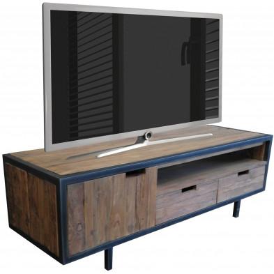 Meuble TV rustique marron en bois massif teck avec 1 porte et 2 tiroirs L. 160 x P. 50 x H. 50 cm collection Renew