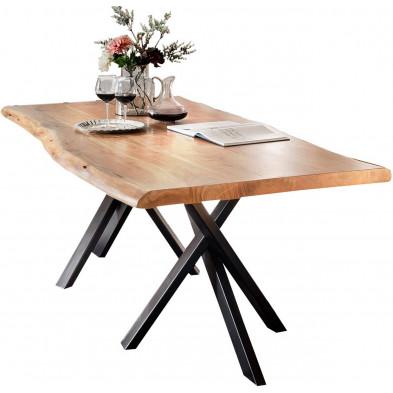 Table de salle à manger rustique en bois massif avec piétement en métal noir et une épaisseur plateau de 36 mm  L. 180 x P. 90 x H. 76 cm collection Basberg