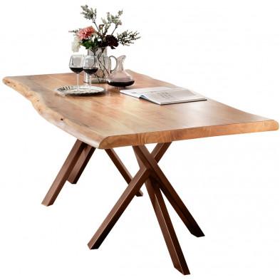 Table de salle à manger rustique en bois massif avec piétement en métal brun et une épaisseur plateau de 56 mm L. 240 x P. 100 x H. 78 cm collection Basberg