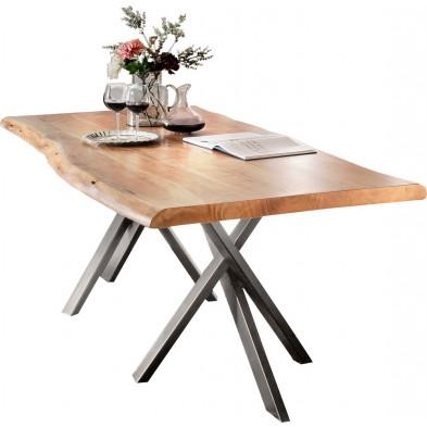 Table de salle à manger rustique en bois massif avec piétement en métal gris et une épaisseur plateau de 56 mm  L. 240 x P. 100 x H. 78 cm collection Basberg