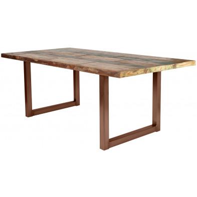 Table de salle à manger rustique en bois massif naturel avec piétement en métal marron et une épaisseur plateau de 40 mm L. 180 x P. 100 x H. 77 cm collection Quicksand