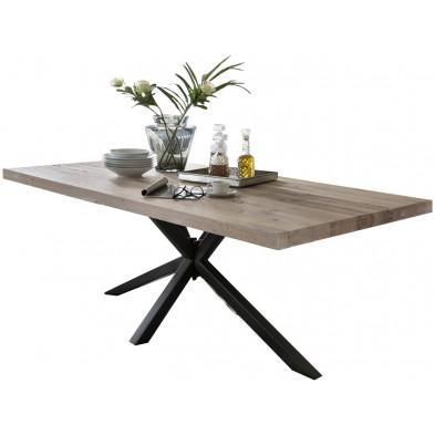 Table de salle à manger rustique en bois massif chêne avec piétement en métal noir et une épaisseur plateau de 60 mm L. 180 x P. 100 x H. 80 cm collection Inflate