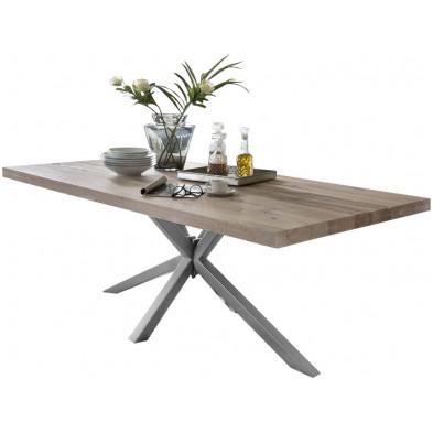 Table de salle à manger rustique en bois massif chêne avec piétement en métal gris et une épaisseur plateau de 60 mm L. 180 x P. 100 x H. 80 cm collection Inflate