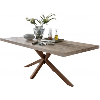Table de salle à manger rustique en bois massif chêne avec piétement en métal marron et une épaisseur plateau de 60 mm L. 240 x P. 100 x H. 80 cm collection Inflate