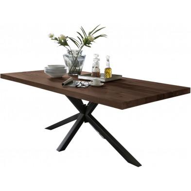 Table de salle à manger rustique en bois massif marron foncé avec piétement en métal noir et une épaisseur plateau de 60 mm  L. 180 x P. 100 x H. 80 cm collection Daleofwalls