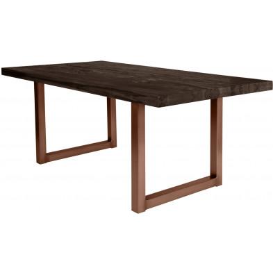 Table de salle à manger rustique en bois massif brun foncé avec piétement en métal brun et une épaisseur plateau de 60 mm L. 220 x P. 100 x H. 80 cm collection Friends