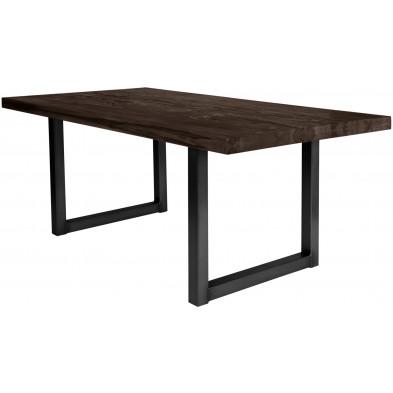 Table de salle à manger rustique en bois massif marron foncé avec piétement en métal noir et une épaisseur plateau de 60 mm  L. 220 x P. 100 x H. 80 cm collection Friends
