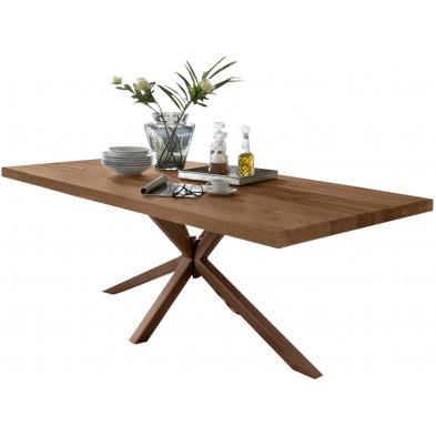 Table de salle à manger rustique avec plateau en chêne massif marron de 6 cm d'épaisseur avec piètement en acier croisé solide L. 220 x P. 100 x H. 80 cm collection Delaes