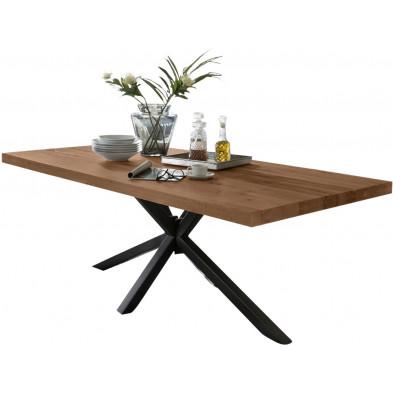 Table de salle à manger rustique avec plateau en chêne massif marron de 6 cm d'épaisseur avec piètement en acier croisé noir solide L. 220 x P. 100 x H. 80 cm collection Delaes