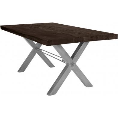 Table de salle à manger rustique avec plateau en chêne massif marron foncé de 6 cm d'épaisseur avec piètement en acier croisé gris solide L. 240 x P. 100 x H. 78 cm collection Instruct