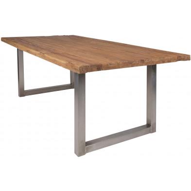 Table de salle à manger rustique avec plateau en bois de teck massif marron de 5 cm d'épaisseur avec piètement en cadre métallique argenté L. 180 x P. 100 x H. 78 cm collection Aberbowlan