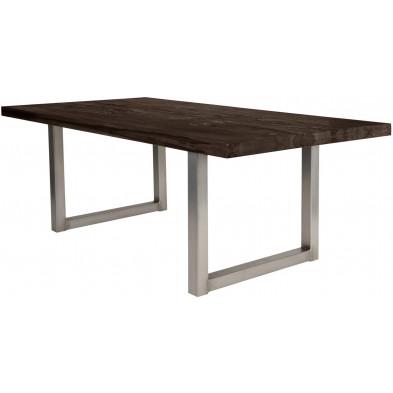 Table de salle à manger rustique avec plateau en bois chêne massif marron foncé de 6 cm d'épaisseur avec piètement en cadre métallique argenté L. 240 x P. 100 x H. 79 cm collection Nanouk