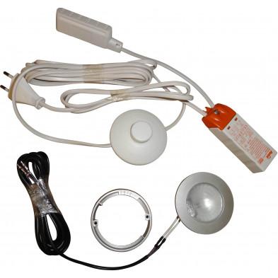 Set d'éclairage spot pour meubles avec lampe de 10W douille G4 avec transformateur et bouton poussoir L. 16 x P. 10 x H. 6 cm collection Janneke