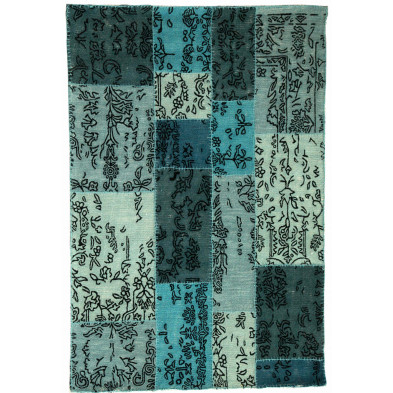 Tapis rectangulaire moderne patchwork 170x240 cm en laine coloris bleu collection Jagt