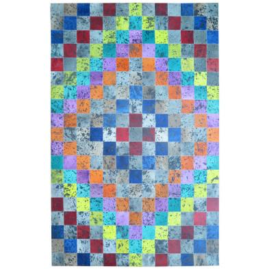 Tapis rectangulaire moderne patchwork en peau de vache 200x300 cm multicolore collection Bruinenberg
