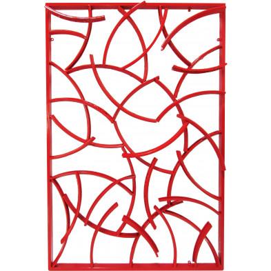 Tableau mural rectangulaire 80x120 cm en jantes de vélos recyclés coloris rouge collection Corwin