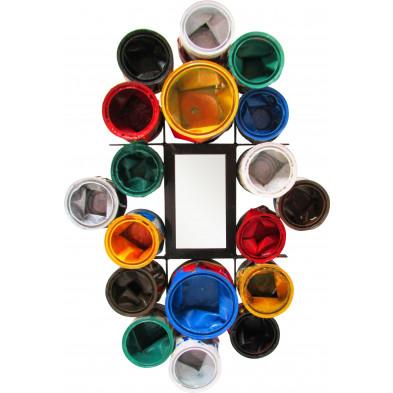 Miroir mural rectangulaire en pots de peinture recyclés coloris multicolore L. 60 x P. 17 x H. 80 cm collection Buxtehude