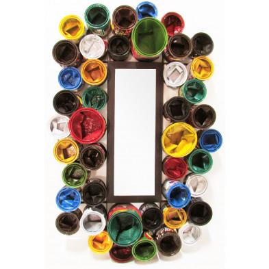 Miroir mural rectangulaire  en pots de peinture recyclés coloris multicolore L. 80 x P. 17 x H. 120 cm collection Buxtehude