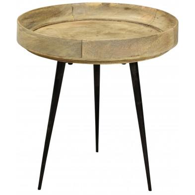 Table basse à plateau rond ø 40 cm en bois de manguier coloris naturel collection Grammene