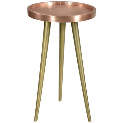 Table d'appoint à plateau rond ø 37 cm en bois de manguier et cuivre collection Ginosa