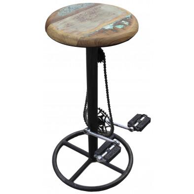 Tabouret de bar vintage avec chaîne et pédales de vélo coloris noir et marron L. 40 x P. 40 x H. 83 cm collection Layton