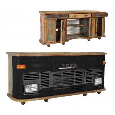 Meuble bar face avant de bus TATA style vintage  avec 4 portes et 3 tiroirs coloris noir antique  L. 253 x P. 65 x H. 107 cm collection Stromberg
