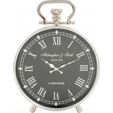 Horloge à poser style classique en aluminium coloris argent et noir L. 40 x P. 15 x H. 55 cm collection Liddell