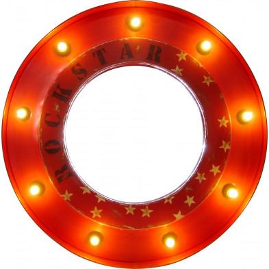 Miroir mural lumineux rond en fer à 9 lampes coloris rouge L. 78 x P. 10 x H. 78 cm collection Erratic