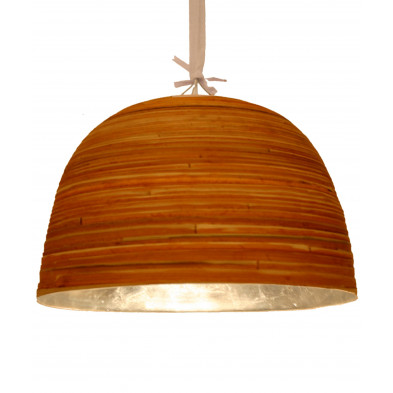 Suspension style moderne en bambou coloris marron et doré L. 40 x P. 40 x H. 25 cm collection Middletown