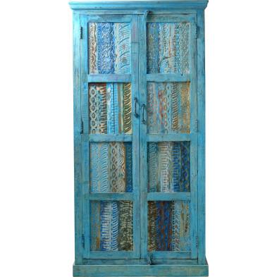 Armoire 2 portes en bois recyclé  avec tringle et compartiments coloris bleu antique L. 90 x P. 40 x H. 180 cm collection Echbely