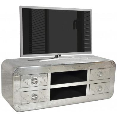 Meuble TV design en bois et aluminium avec 2 niches et 4 tiroirs coloris argent L. 145 x P. 45 x H. 50 cm collection Sashay