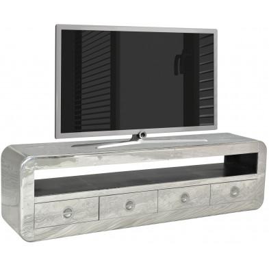 Meuble TV design en bois et aluminium avec 1 niche et 4 tiroirs coloris argent L. 200 x P. 40 x H. 56 cm collection Sashay